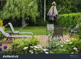 wooden patio deck backyard home outdoor stock photo 377138647