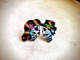 boy earrings tattoo style day of the dead mini sugar skull post earrings