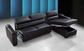 reversible espresso leather sectional sofa bed w storage