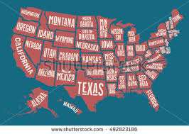 amarican map poster map united states america state stock vector 479497699