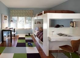 bunk loft bed combination with large bedroom design and wall mount