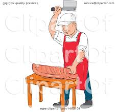 clipart of a sketched male butcher cutting meat on a chopping