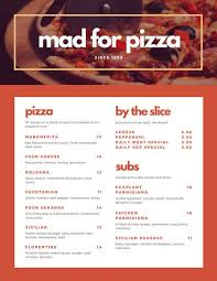 red orange and pale gold bordered pizza menu templates by canva