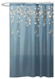 flower drops federal blue and white shower curtain contemporary