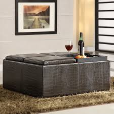 leather ottoman coffee table storage with ideas inspiration 9556