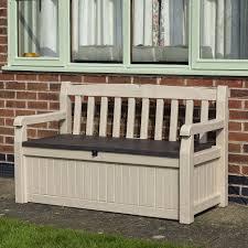 Keter Plastic Wood Effect Plastic Garden Bench U0026 Storage Box Departments Diy