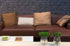 Leather Sofa Cushions Cushions On Leather Sofa Stock Photos Image 34236613