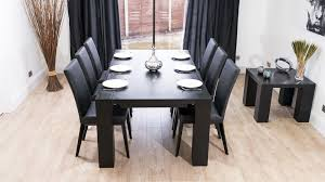 Modern Large Extending Black Ash Dining Table Chunky Legs Seats - Black dining table for 10