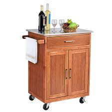 kitchen storage cabinet cart costway wood kitchen trolley cart stainless steel top rolling storage cabinet island walmart