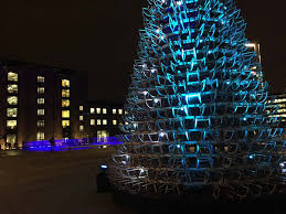 hello christmas tree hello wood redefines the concept of the christmas tree in london