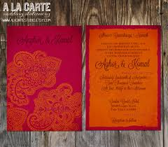 indian wedding invitation ideas indian style wedding invitation in orange indian arabic henna