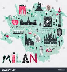 Milan Italy Map Cartoon Map Milan Italy Print Design Stock Vector 621437312