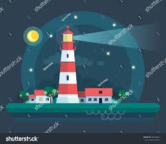 Landscape With Houses by Lighthouse Night Landscape Houses Trees Vector Stock Vector