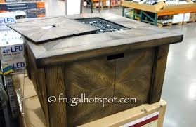 global outdoors fire table costco sale global outdoors faux wood fire table 299 99 frugal