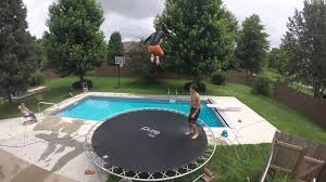 quad front flip into backyard pool attempt youtube