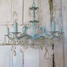 Blue Light Fixture Blue Chandelier Painted Distressed Robins Egg Shabby Cottage