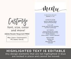 editable menu template wedding menu template 5x7 menu printable editable wedding menu