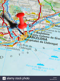 Spain On A Map Barcelona Pinned On A Map Of Spain Stock Photo Royalty Free Image