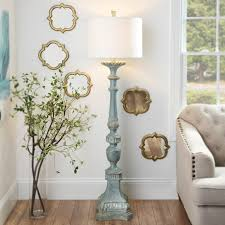 How To Decorate A Long Wall In Living Room by Alana Distressed Blue Floor Lamp Blue Floor Lamps Blue Floor