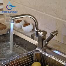 Brushed Nickel Kitchen Faucets Led Modern Brushed Nickel Kitchen Faucet Deck Mounted Vessel Sink