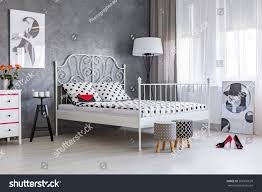 Bedrooms In Grey And White Feminine Accessories Grey White Stylish Womans Stock Photo