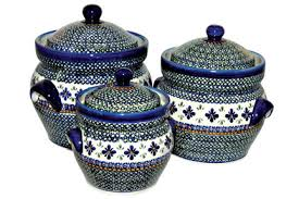 blue rose polish pottery mosaic flower large canister set