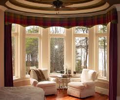 traditional decorating ideas beautiful bay windows with traditional wine red curtain for