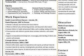 Medical Transcription Resume Examples by Medical Scribe Resume Reentrycorps
