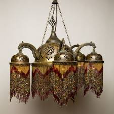 Lighting Lamps Chandeliers Brass Red Beaded Morocaan Chandeliers Moroccan Lamps Syrian