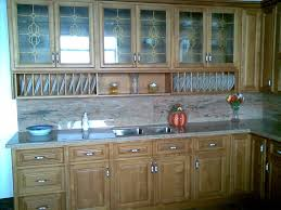 birch wood honey door kitchen wall cabinets with glass
