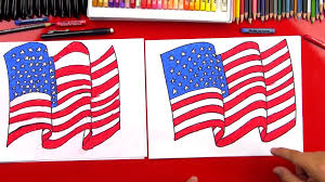 Americsn Flag Drawn American Flag Pencil And In Color Drawn American Flag