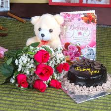 send roses and chocolate cake hamper including teddy bear with