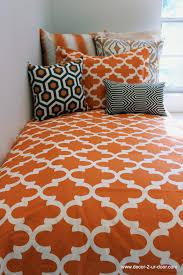 custom orange quatrefoil duvet and sham set with design ur own