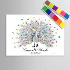 wedding gift diy online shop fingerprint tree signature canvas print peacock