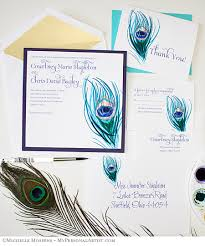 peacock wedding invitations painted peacock feathers wedding invitations mospens studio