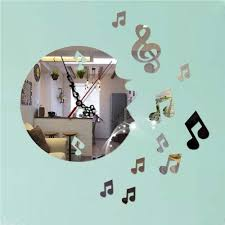 Music Note Home Decor Online Get Cheap Music Notes Home Decoration Mirror Wall Clock