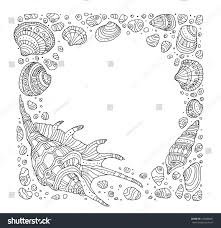 seashell border frame ocean pattern vector stock vector 433680691