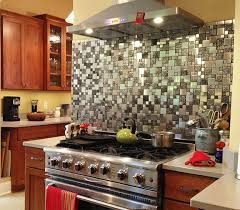 Kitchens With Stainless Steel Backsplash Stainless Steel Backsplash Metal Mosaic Tile