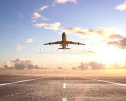 aeroplane on runway wallpaper wall mural wallsauce usa aeroplane on runway wall mural photo wallpaper