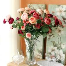 Flowers Glass Vase Buy Rose Aesthetic Crystal Glass Vase Artificial Flower Set