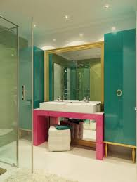 bathroom turquoise pink and gold color combination colorful