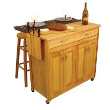 Wheeled Kitchen Islands Light Brown Wooden Kitchen Islands With Double Storage And Drawers