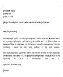 formal resignation letters formal email resignation letter sample