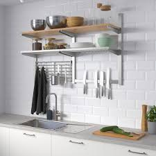 ikea us kitchen wall cabinets kungsfors wall storage with grid knife rack stainless steel ash veneer