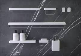 Gray And White Bathroom Accessories by Knief Free Wall Mounted Bathroom Accessories Square Shape Modern