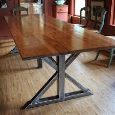 Handmade Birch And Steel Trestle Dining Table By Higgins - Trestle kitchen tables