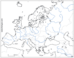 Blank Map Of World Physical by Blank Map Of Europe Countries Rivers Throughout Physical Map Of