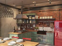 Industrial Kitchen Islands Home Design Industrial Kitchen Island With Exposed Brick