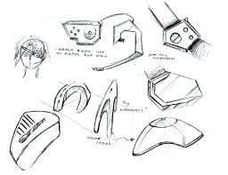 sketches and refinement for cop protection shoulder pads by