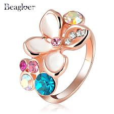aliexpress buy beagloer new arrival ring gold beagloer brand ring multicolor austrian crystals elements rings